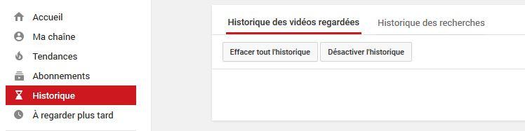 effaçer l'historique youtube